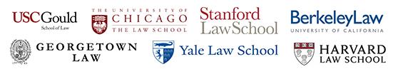 Harvard Law School, Yale Law School, Stanford Law School, Georgetown Law School, NYU School of Law, Columbia Law School, Berkeley Law, USC Gould School of Law, UCLA School of Law